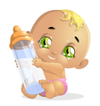 baby and milk3 vector image vector image