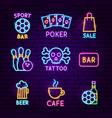 bar street neon label set vector image