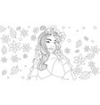 beautiful girl wears a flower vector image