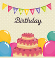 birthday card with sweet cake and balloons air vector image vector image