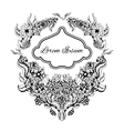 Black and white flowers abstract art wedding vector image vector image