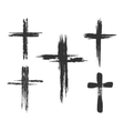 Brush painted cross icons vector image vector image