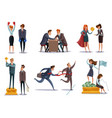 business competitions doodle set vector image