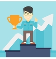 Businessman proud of his business award vector image vector image