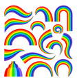 cartoon rainbow set vector image vector image