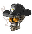 cartoon sheriff skull with hat and cigarette vector image vector image