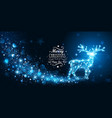 christmas card with silhouette magic deer vector image vector image