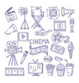 cinematography doodle set video movie vector image vector image