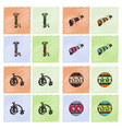 circus equipment icons in hatching style vector image vector image