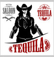 cowgirl with bottle tequila - picture vector image vector image