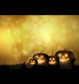 dark cute halloween pumpkins and bokeh background vector image vector image