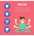 Dental care banner with male dentist vector image vector image