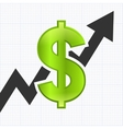 Dollar sign with graph chart vector image vector image