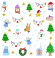 Doodle of christmas set with spruce snowman deer vector image vector image