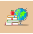 education concept globe stack books apple vector image vector image