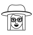 female face with glasses and hat and straight hair vector image vector image