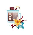 fragrant cocoa drink with spices in glass mug vector image