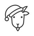 goat wearing santa hat avatar icon vector image vector image