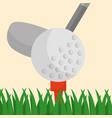 golf club ball on a tee grass sport vector image vector image