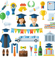 Graduation Celebrating Concept Icon Set vector image vector image