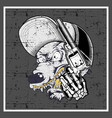 grunge style wolf wearing cap and holding gun vector image vector image