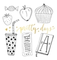 Hand drawn doodle set for teen girls vector image