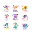happy birthday logo design set colorful creative vector image vector image