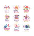 happy birthday logo design set colorful creative vector image