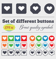 Heart Love icon sign Big set of colorful diverse vector image vector image