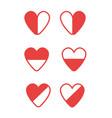 icon set half full half empty hearts vector image vector image