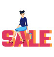 inscription sale pink and orange with cute girl vector image
