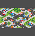 isometric crossroads intersection streets of vector image