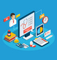 medical consultation isometric concept vector image