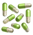 Medical green capsule with granules vector image vector image