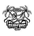 monochrome logo emblem girl surfer surfing on vector image vector image
