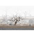 Mysterious forest in fog Dark spooky halloween vector image