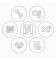 Outbox mail message and handshake icons vector image vector image