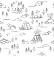 pattern with hiking and landscape elements vector image vector image