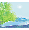 Pool on a tropical beach vector image