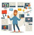 poster in programming concept programmer man vector image vector image