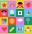 retro children game mosaic seamless pattern vector image vector image