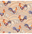 roosters pattern beige vector image vector image