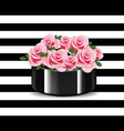 roses bouquet on striped background vector image vector image