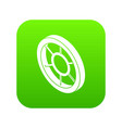 round window frame icon green vector image vector image