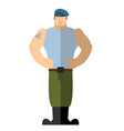 Russian soldiers Military man in t-shirt and blue vector image