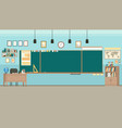 school classroom with chalkboard study class with vector image