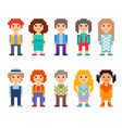 set of different 8-bit characters vector image