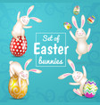 set of four easter white bunnies easter eggs vector image vector image
