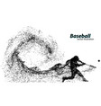 silhouette of a baseball player from particle