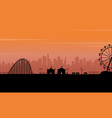 silhouette park at the sunset scenery vector image vector image